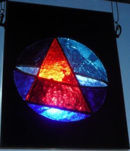Sphère et Triangle - tableau dalle de verre