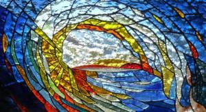 La Vague - Vitrail en dalle de verre